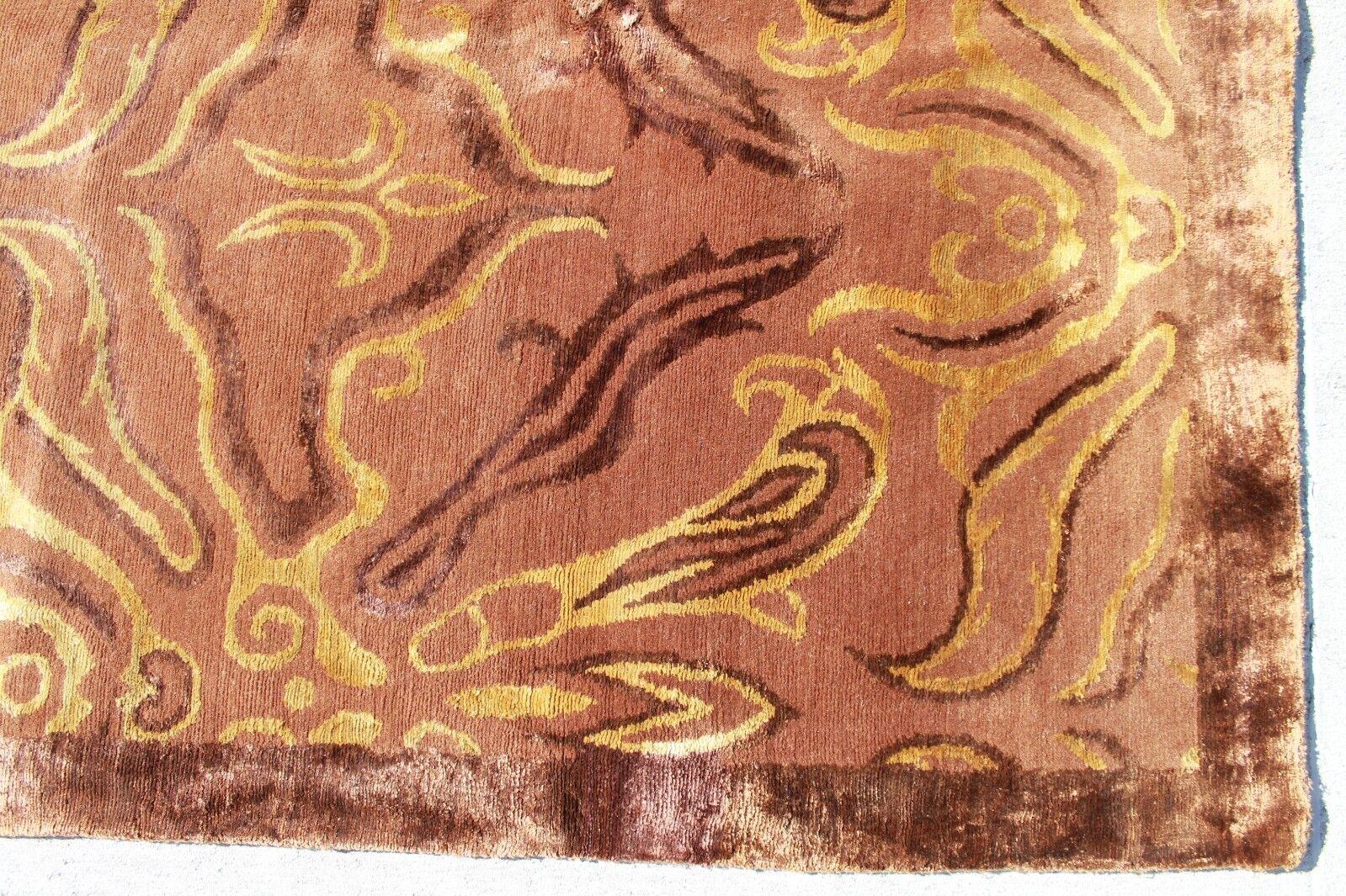 R29546 Exclusive Wool Silk Silk Silk braun Hand Crafted Tibetan Area Rug 8' x 10' MI Nepal c16855