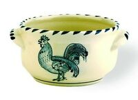 Jose Dovis Blue Rooster Chicken Folk Art Pottery Hand Painted Chowder Bowl