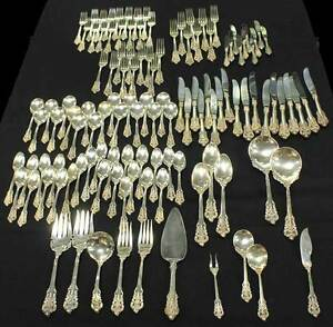 Wallace-034-Grand-Baroque-034-119-Piece-Sterling-Silver-Silverware-Flatware-Set