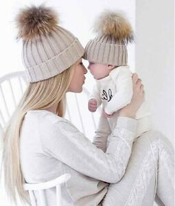 Image is loading Mommy-amp-Me-matching-Knitted-Beanies-with-Pompom- 99ec4ed07b5