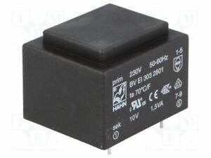 Transformator-ueberzogen-1-5VA-10V-230VAC-150mA-Montage-PCB-BV-EI-303-2801-PCB