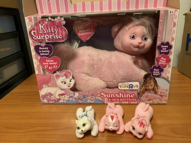 2015 Puppy Surprise Plush Cat Sunshine & 3 Kittens Just Play Pink Sparkle Hair