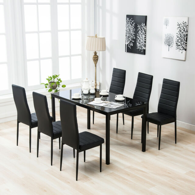 7 Pieces Glass Dining Table Set w/ 6 Faux Leather Chairs Kitchen Furniture Black