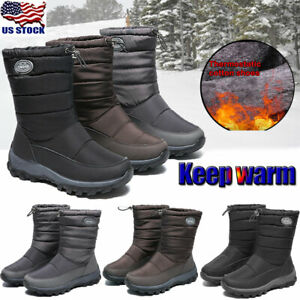 US-Women-Winter-Warm-Fur-lined-Mid-Calf-Booties-Waterproof-Snow-Boots-Shoes-Size