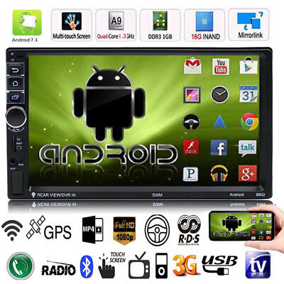 Camara 16G GPS MP3 MP5 Player 7/'/' 2DIN Quad-Core Android 7.1 WiFi 3G BT 1 G