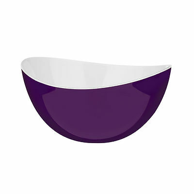 New Purple & White Small Plastic Serving Salad Fruit Mixing Bowl BBQ Picnic Nuts