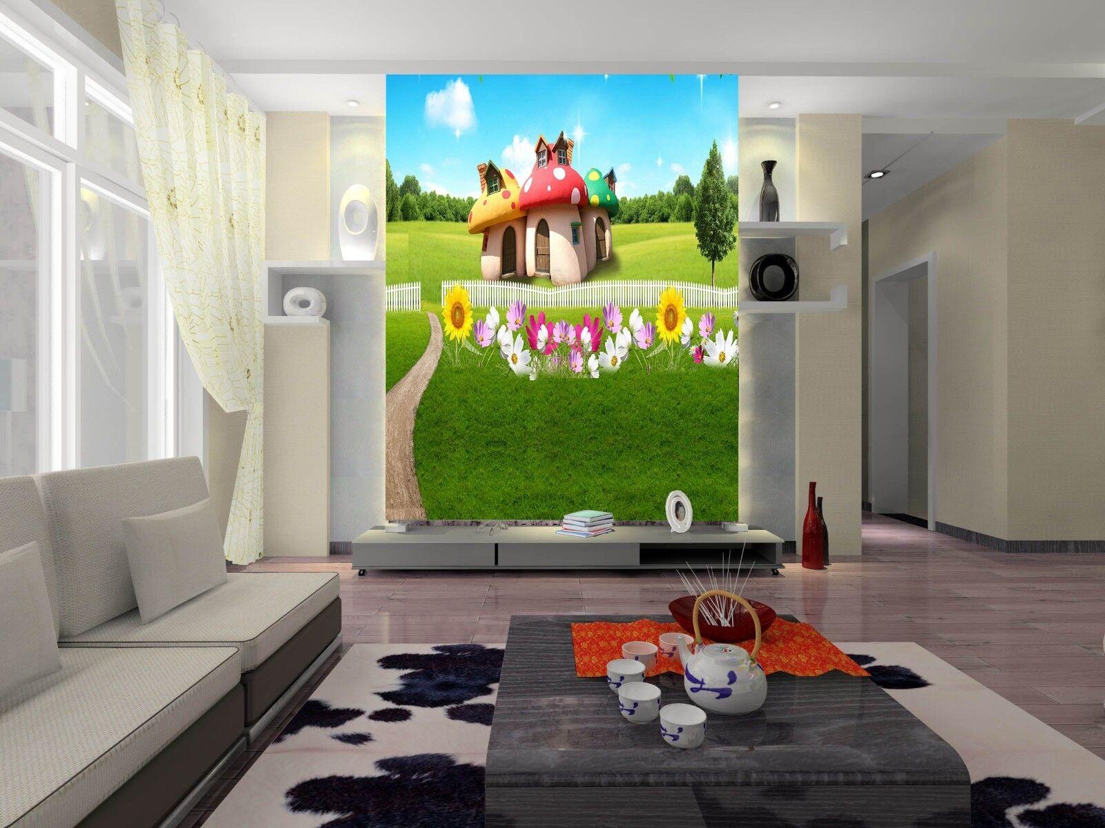 3D Grün Lawn Mushroom House Wall Paper Wall Print Decal Wall AJ WALLPAPER CA