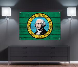"Washington State Flag Wood Print Wall Art Decoration 24"" x 15"""