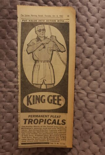 King Gee Tropicals 1962 Advertisement