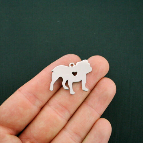 MT428 Bulldog Charms Stainless Steel Great As a Charm or For Stamping