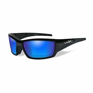 6cd9f821bfa Wiley X Tide Polarized Sunglasses Blue Mirror Lens Gloss Black Frame CCTID09