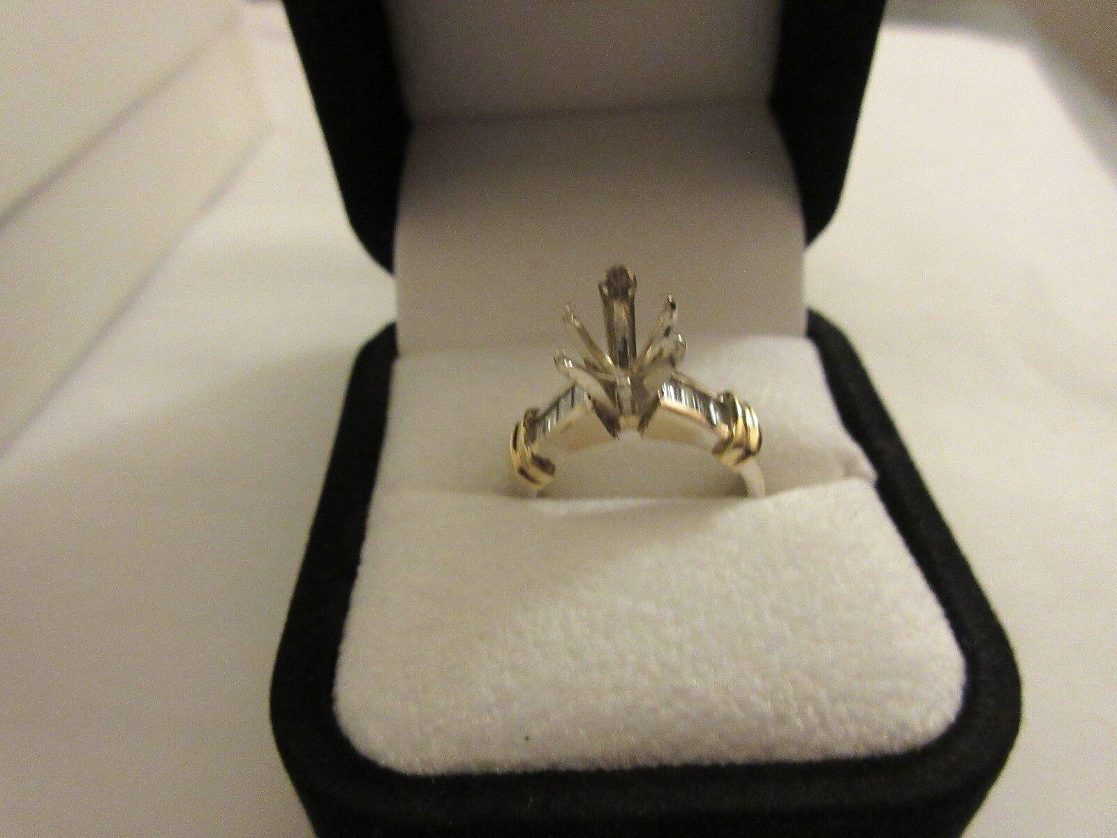 Ladies Ring Setting , 18kt White Gold , Diamonds , Ston
