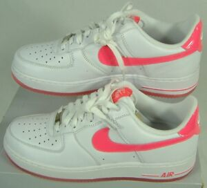 New Womens 11 NIKE Air Force 1 White Hot Pink Leather Shoes  82 ... e940f5bc57
