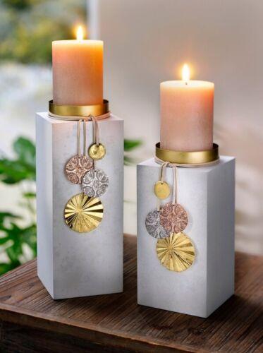 "Candle Holder /""Sina/"" 2er Set Deco Candlesticks Decoration Wood Pillar dekosäule"