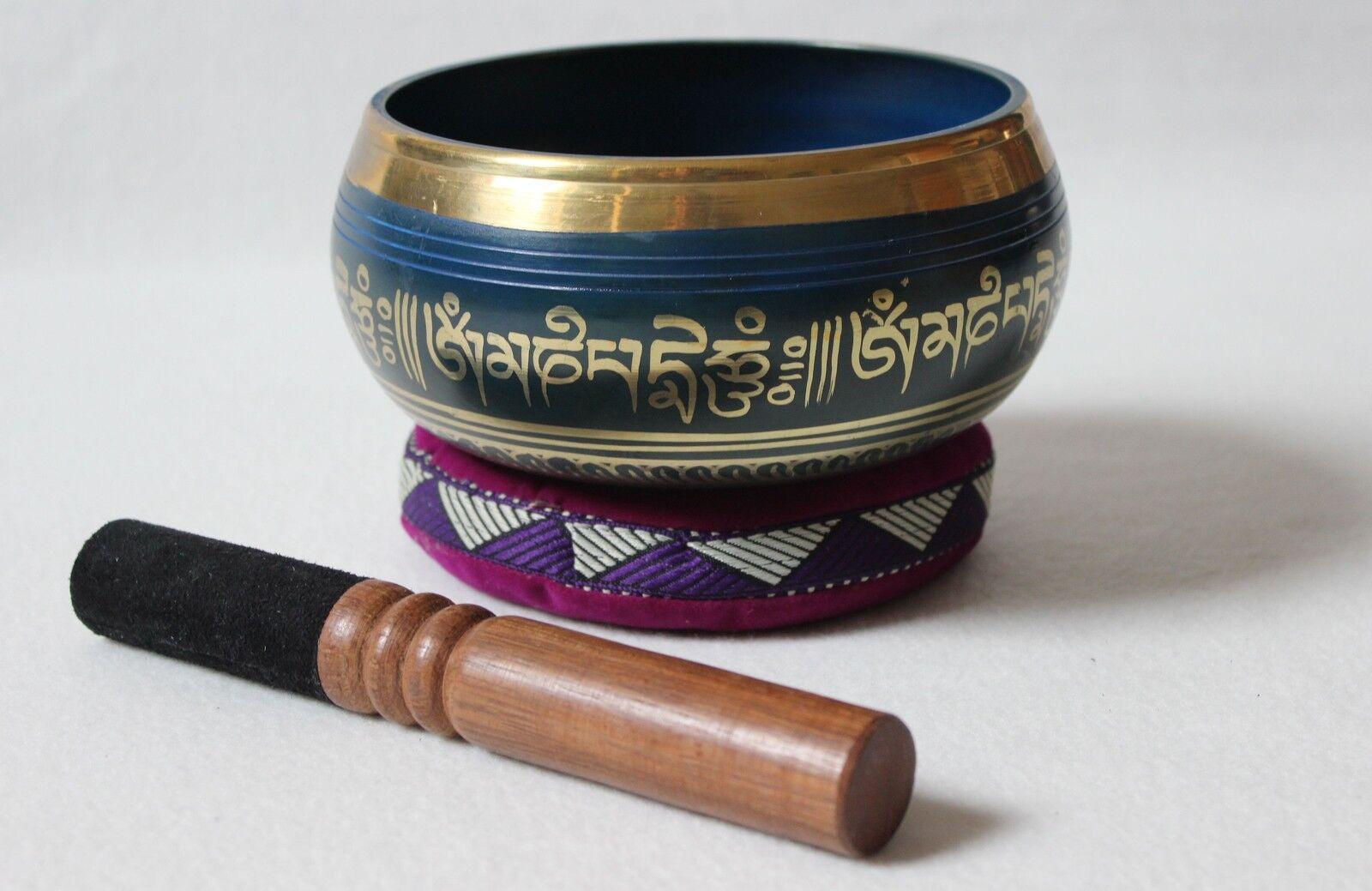 Gebets-Klangschale Tibet Bronze gegossen graviert blau Zubehör  890g