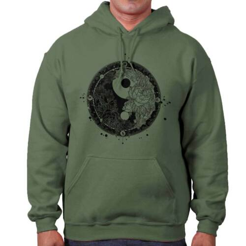 Floral Yin Yang Shirt Mystic Good Evil Koi Spirit Animal Cool Hoodie