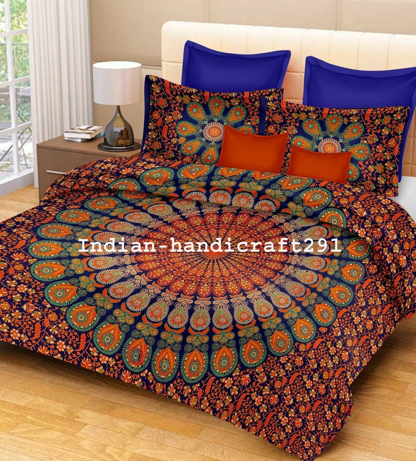 Indian Mandala Duvet Doona Cover Queen Size Cotton Comforter Quilt Blanket Cover