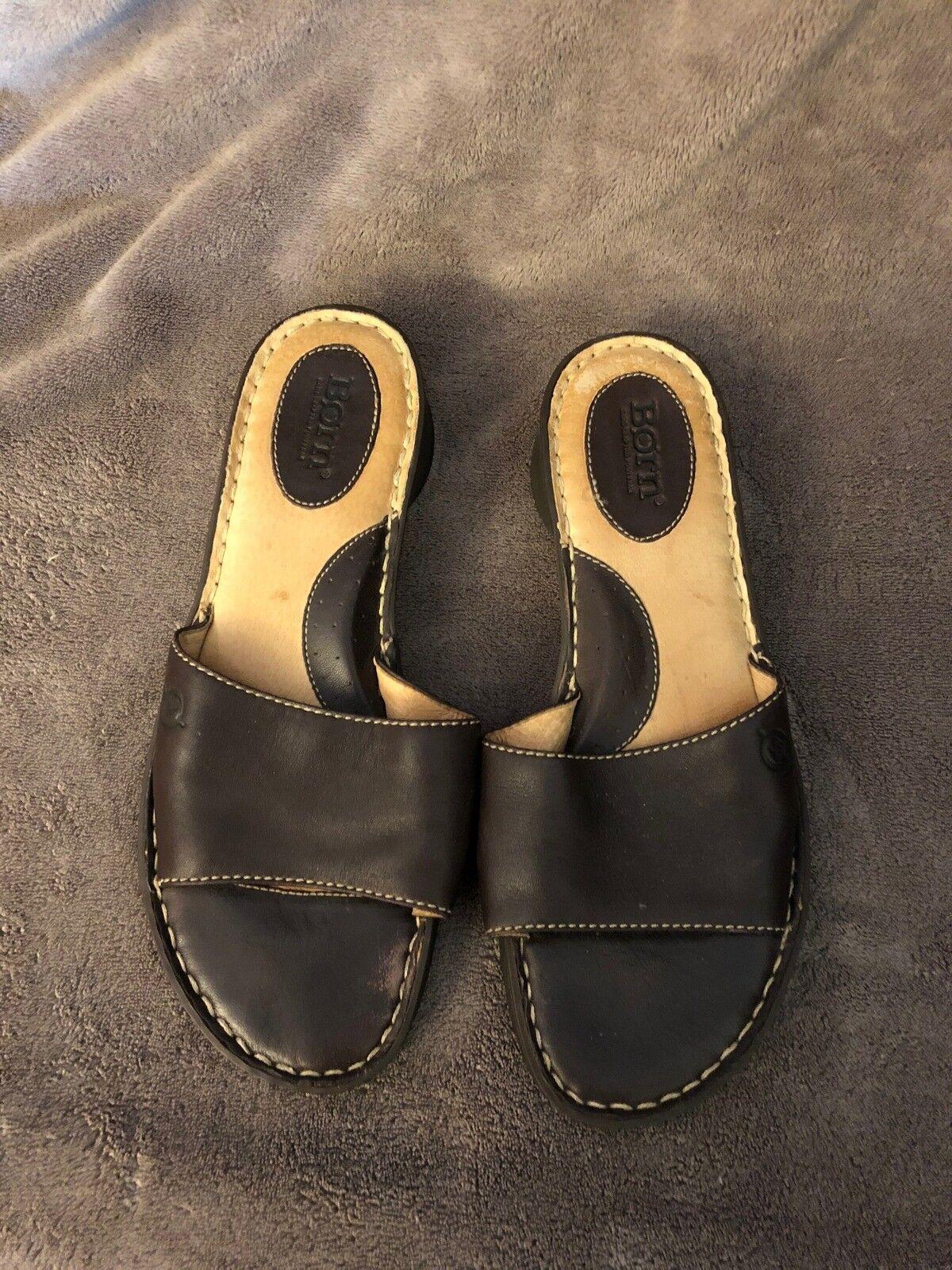 Women's Born Brown Leather Slip 8 On Slides Sandals Size 8 Slip M W8585 B6 ee9c43