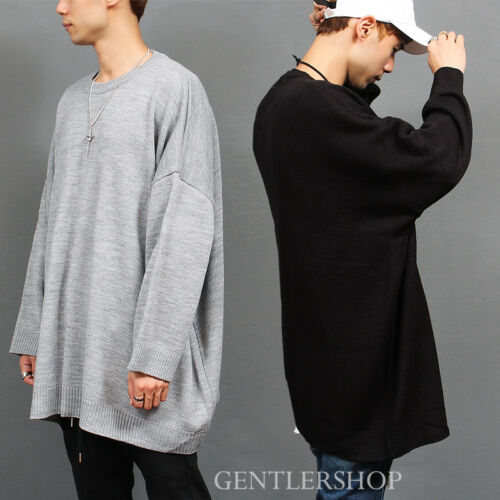 GENTLER SHOP Men/'s fashion Big Over Sized Loose Fit Knit Jumper