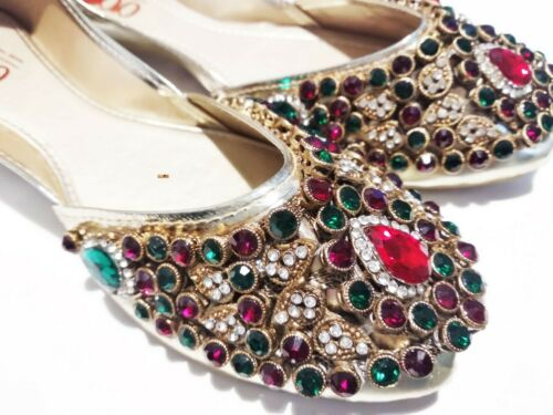 EMBELLISHED KUNDAN KHUSSA FANCY PARTY WEDDING Broach Shoes  For Ladies Girls