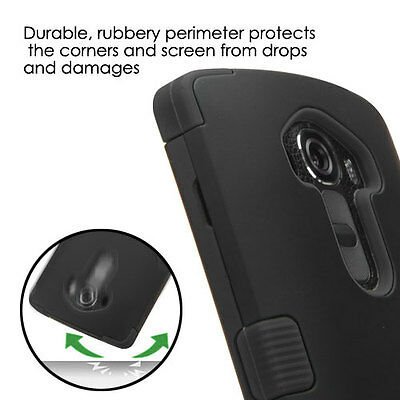For LG G4 Hybrid Rugged Tuff Protective Hard Case Cover Black