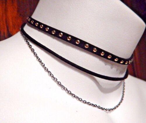 BLACK STUDDED MULTI-STRAND CHOKER silver chain punk biker gothic necklace N2