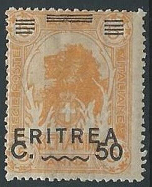 1922 Eritrea Leone Soprastampato 50 Cent Su 5 A Mnh ** - K029 Haute Qualité