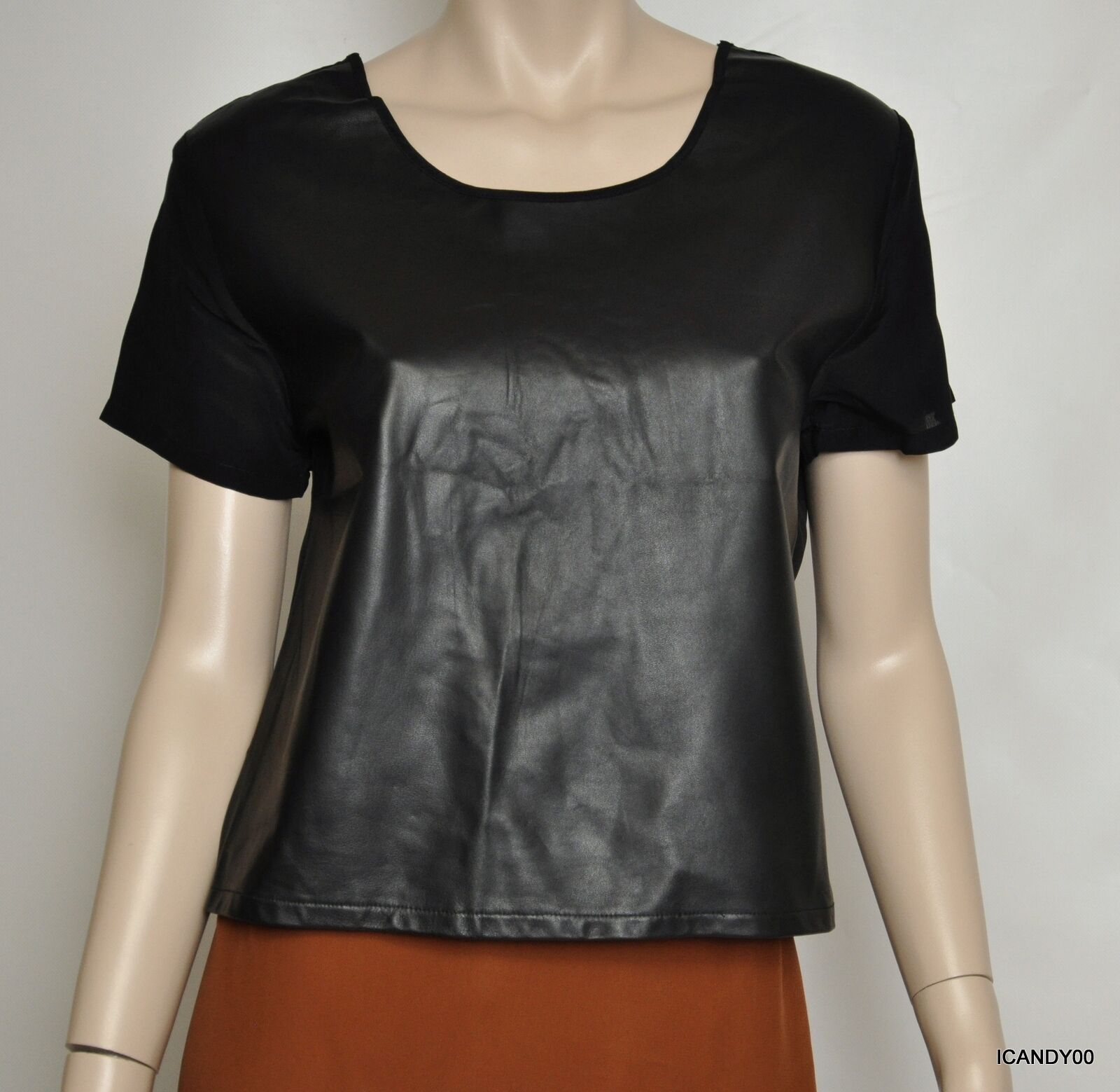 New  Piper Gore Leather Silk Short Sleeve Top Tee Blouse schwarz M