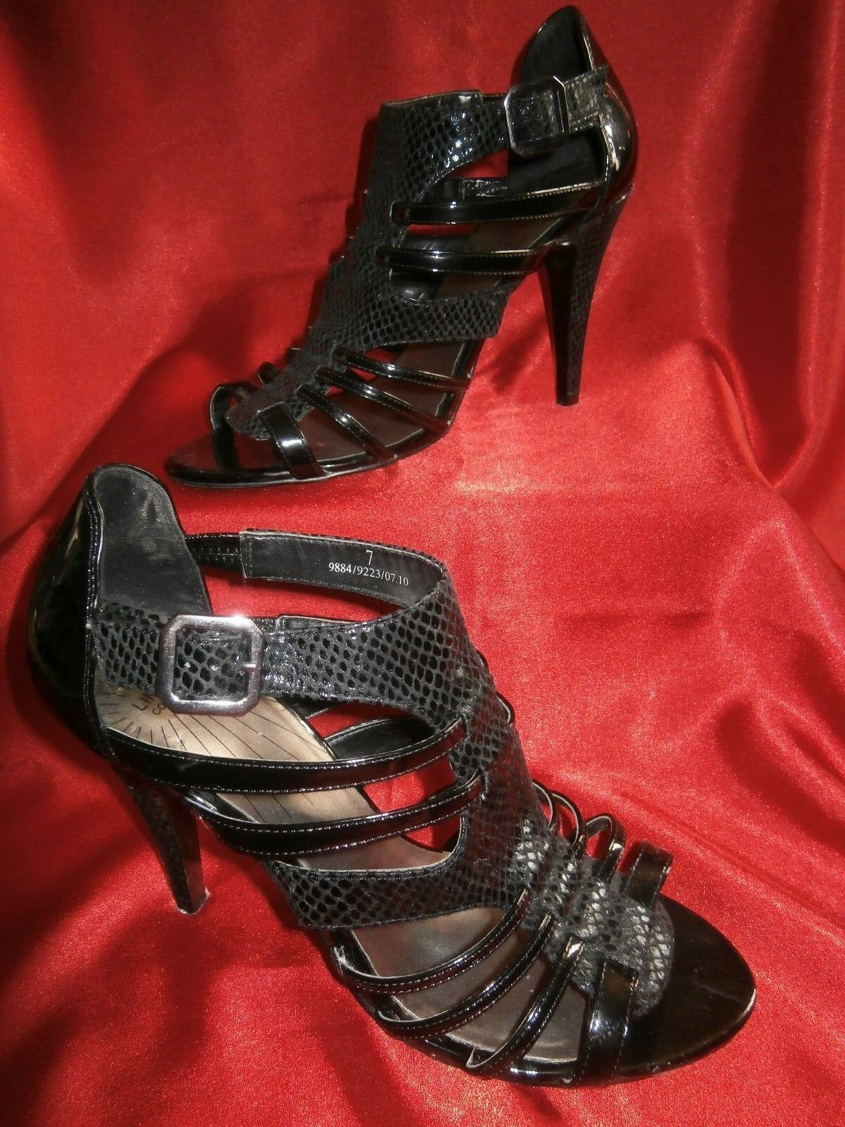Ladies Black strappy high heels size 7 - M & S Limited Collection