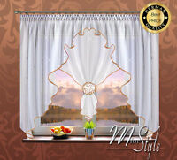 German Voile Net Curtain White Gold Flower Ready Made Fits Small Medium Window