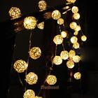 5m Room White Rattan Ball 20LED Light String Fairy Lamp Wedding Xmas Party Decor