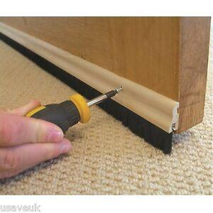 3 x wood wooden brush bottom door strip draught excluder for Door draft excluders