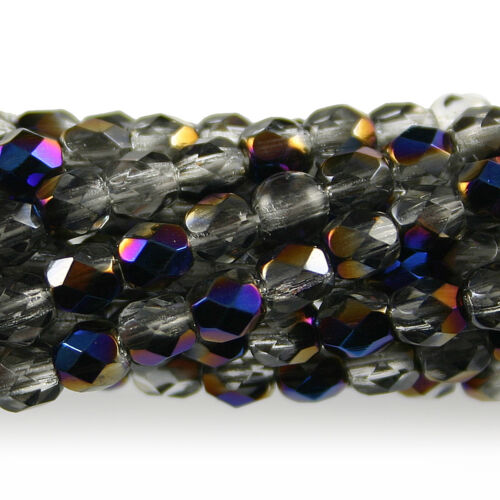 50 4mm Round Fire Polish Czech Glass Beads Crystal Clear Azuro