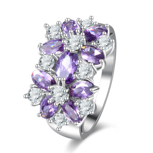 Gorgeous Natural Shiny Mystical Purple Amethyst Silver Rings