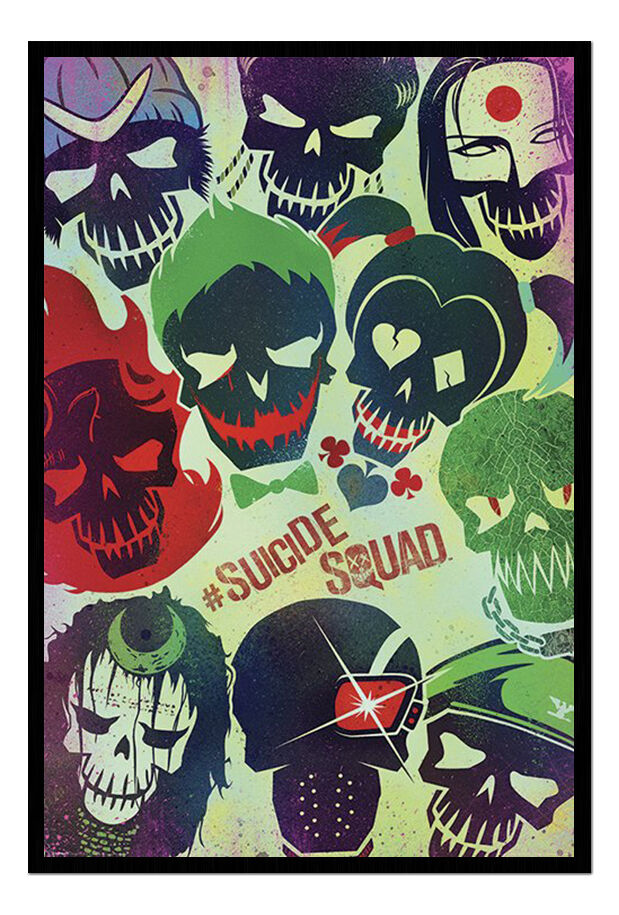 Suicide Squad DC Comics Movie Skulls Framed Cork Pin Memo Board with Pins