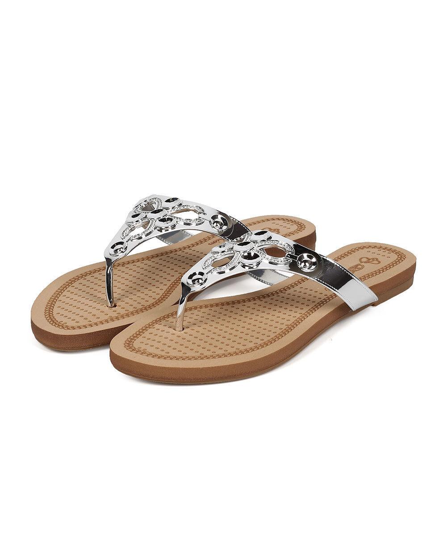New Women DbDk Misy-1 Metallic Embossed Boho Slip On Thong Sandal Size