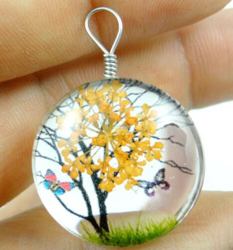 Fashion Crystal Glass Dried Flower Lucky Tree Round beads Pendant Making 04Z2