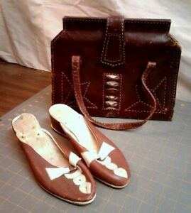 Details about Antique Leather Handbag PURSE and Matching SHOES Set Burgundy  and Cream