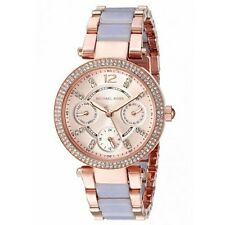 **NEW* LADIES MICHAEL KORS MINI CRYSTAL PURPLE PARKER 2-TONE WATCH MK6327 £259
