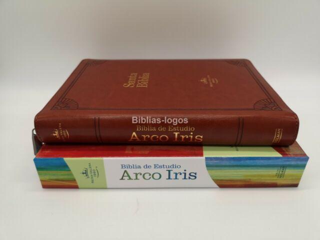 BIBLIA DE ESTUDIO ARCO IRIS REINA VALERA 1960 PIEL FABRICADA CON INDICE CIERRE