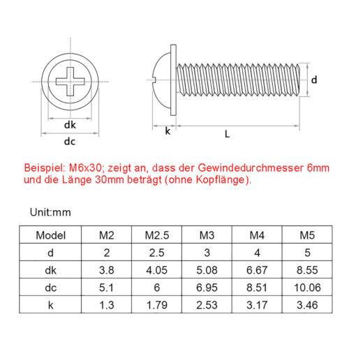 Black Zinc Plated Details about  /M2 M2.5 M3 M4 Phillips Flanged Button Head Machine Screws