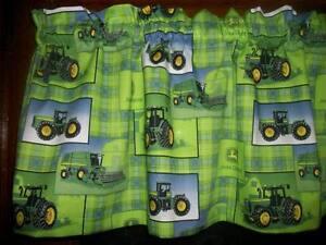 John Deere Farm Tractor Lime Green Plaid Fabric Window Topper Curtain Valance Ebay