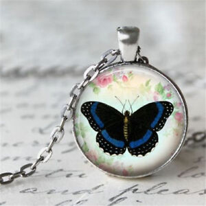 Vintage butterfly Cabochon Tibetan silver Glass Chain Pendant Necklace women New