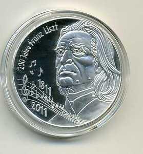 Medaille Zu Den Deutschen 10 Euro Münzen Franz Liszt 2011 Versilbert