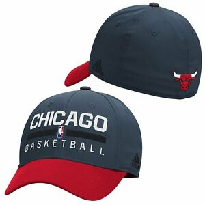 2b6fecd5134 Image is loading Chicago-Bulls-adidas-Charcoal-Practice-Structured-Flex-Hat