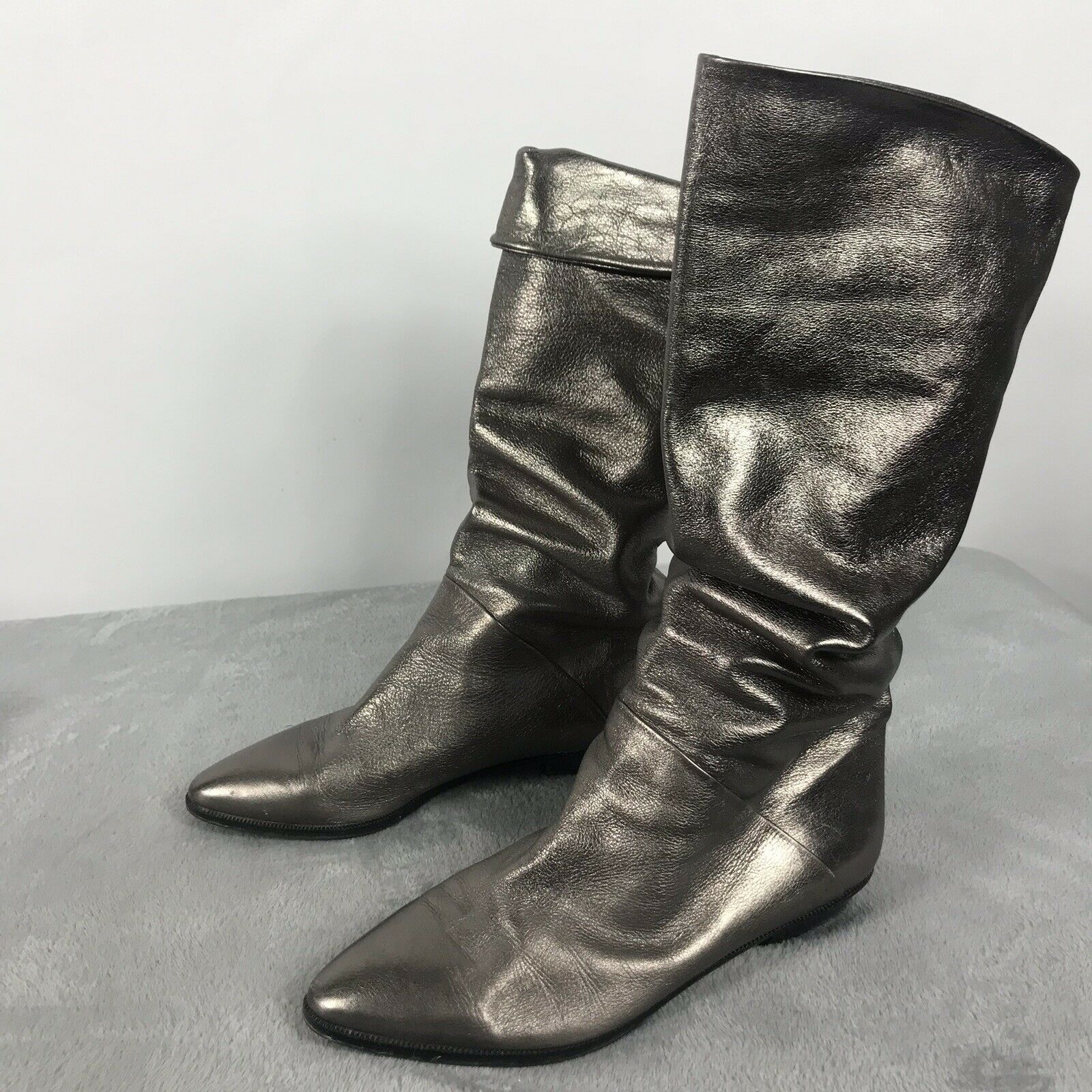 Vintage Womens Pewter Metallic Leather Knee High Slouch Fold over Flat Boots 8M