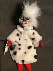 "101 Dalmatians Cruella Deville DeVil DISNEY Plush Bean Bag Doll Toy 9"" NEW"