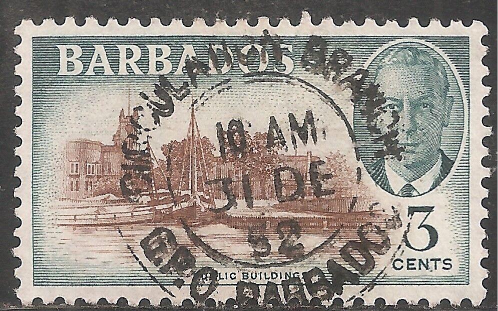 Barbados Stamp - Scott #218/A23 3c Slate & Brown Canc/LH 1950