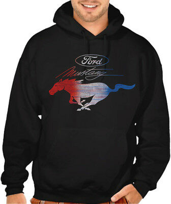 Men/'s Ford Mustang Red White /& Blue Red Raglan Hoodie sweater Fastback GT Car