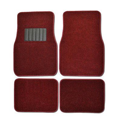 New 4pcs Set Plush Deluxe Front Rear Car Truck Carpet Floor Mats Burgundy Red